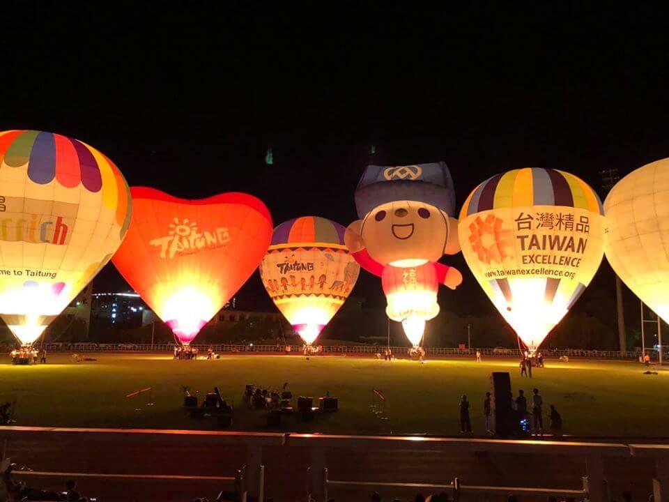 在臺灣國際熱氣球嘉年華有各式各樣的熱氣球