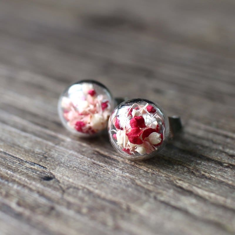 乾燥花醫療鋼耳環