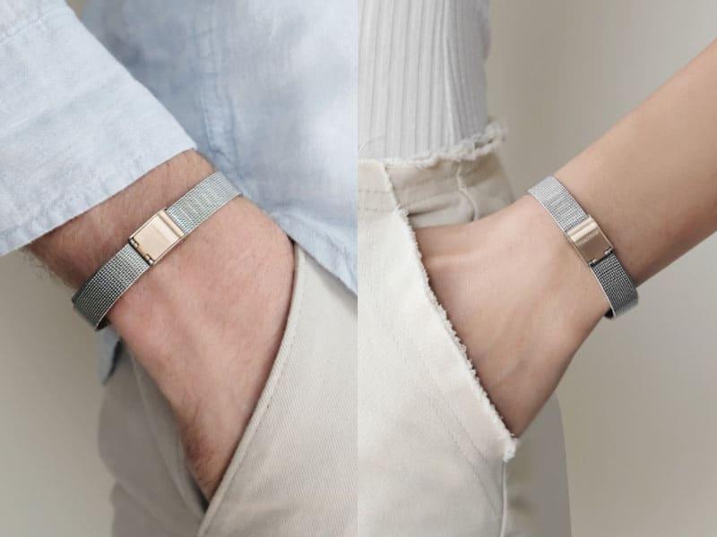 情侶手環推薦-白鋼材質-網織錶帶情侶手鍊