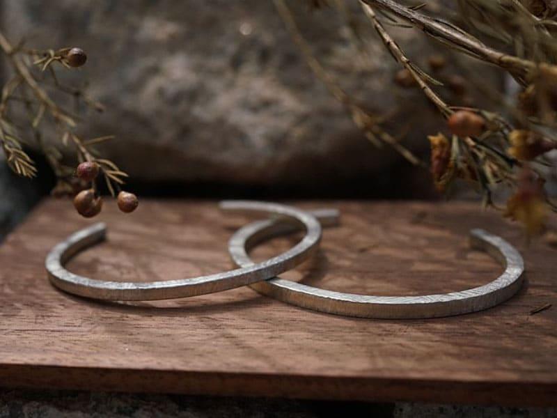 情侶手環推薦-純銀材質-手工木紋刻字情侶手環