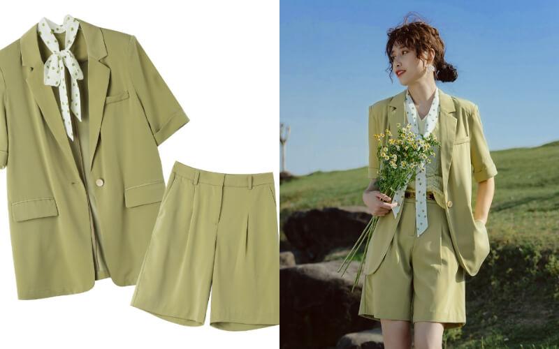 女生婚禮穿搭:西裝外套、短褲套裝