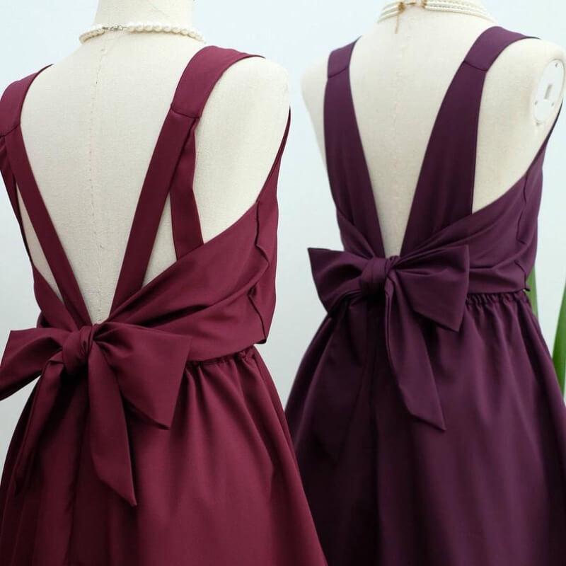 女生婚禮穿搭推薦:宴會小禮服 酒紅色/紫色