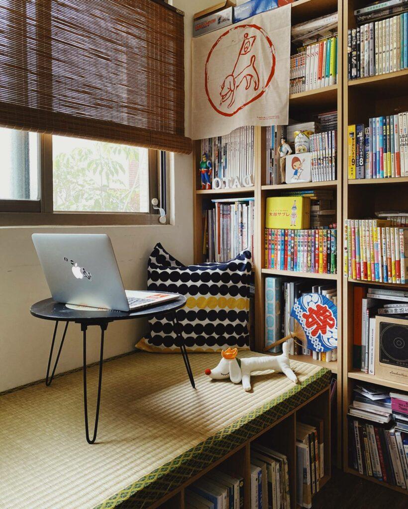 dato 家中的榻榻米區和書躺,將不同區域加上特色也會更有切分場域的感覺喔!