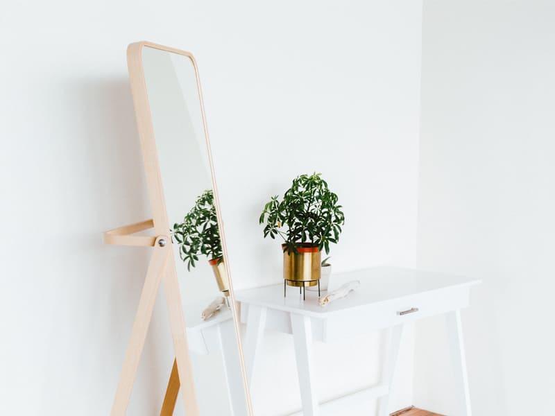 木質全身鏡和鏡中反射植栽