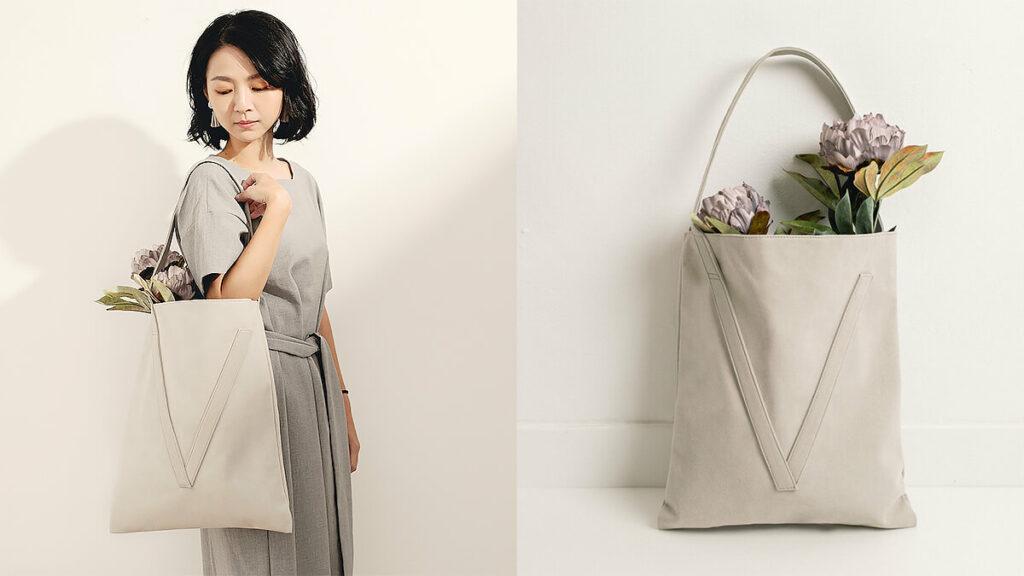 【Classic系列】V bag 經典灰色單肩包