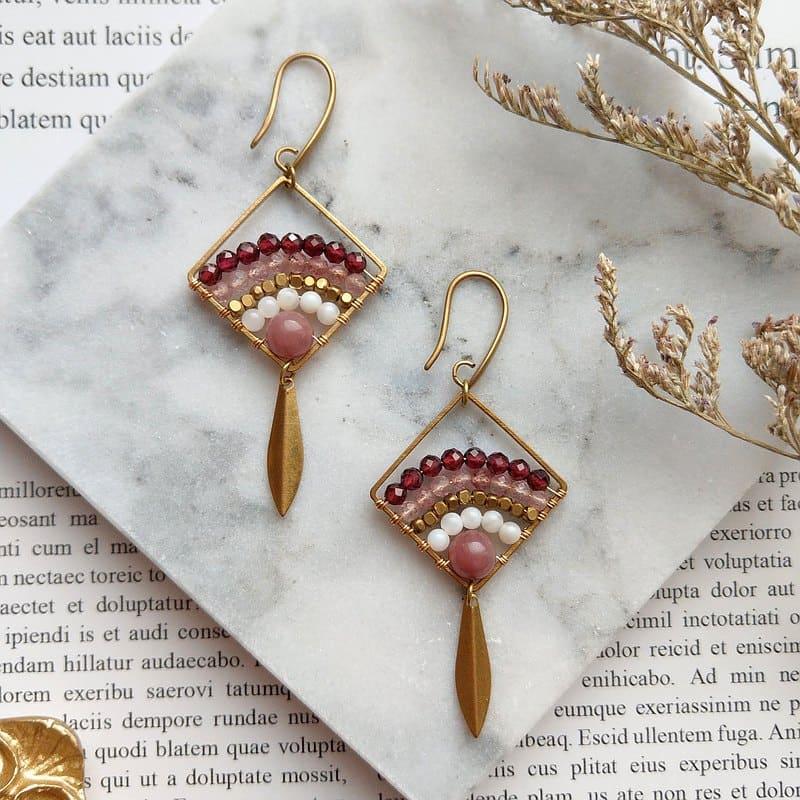 草莓晶耳環