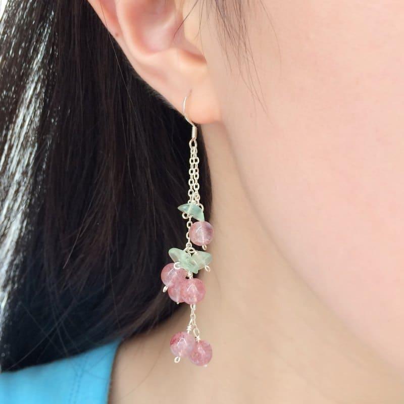 草莓晶耳飾