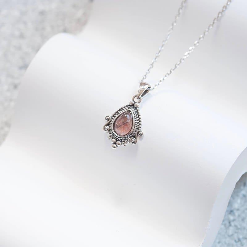 草莓晶純銀項鍊