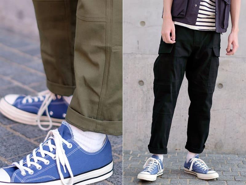 低筒帆布鞋搭九分褲-男