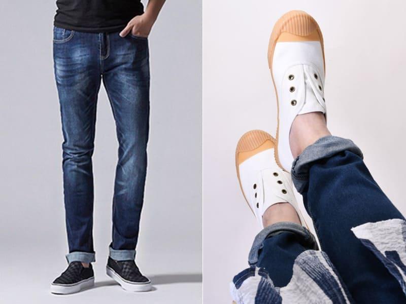 帆布懶人鞋搭牛仔褲