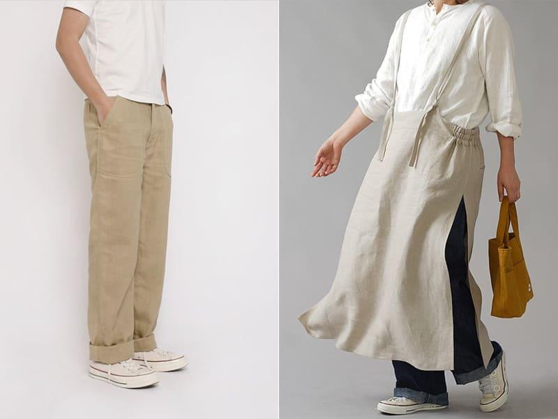 白色帆布鞋搭淺色服裝