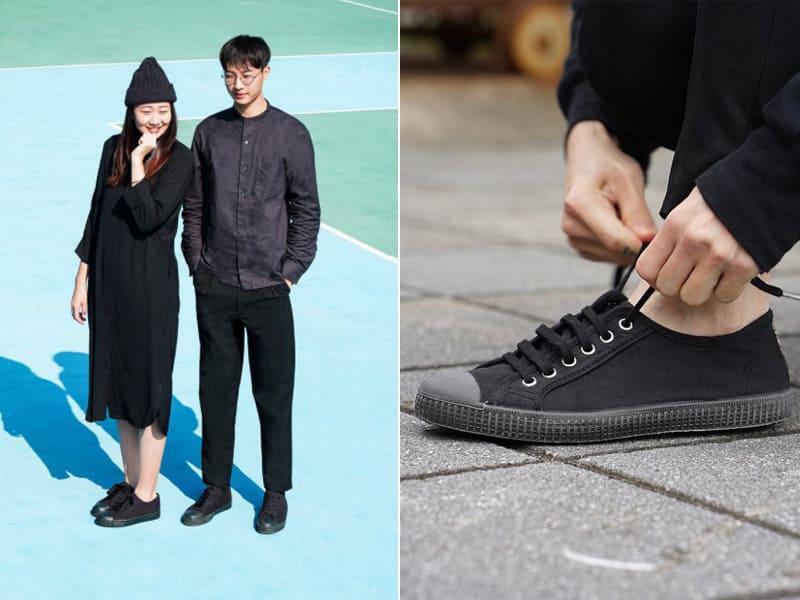 黑色帆布鞋搭深色服裝