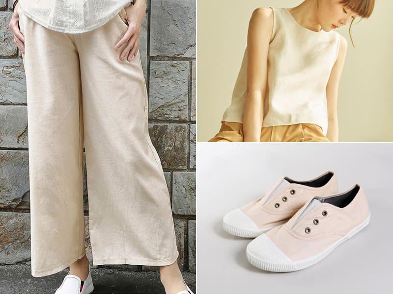 奶茶色帆布鞋搭裸色系服裝