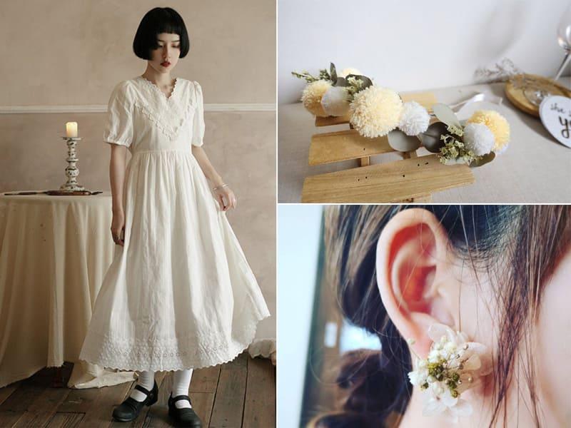 閨蜜裝及花圈頭飾、耳環等配件